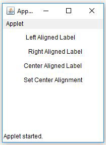 Java AWT Label Alignment Example