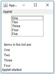 Java AWT List Get All Items Example