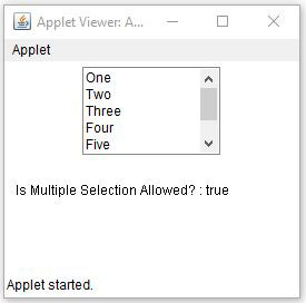 Java AWT List Multiple Mode Selection Example