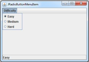 Java JRadioButton MenuItem